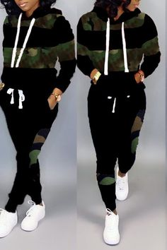 Lovely Casual Patchwork Camouflage Printed Black Two-piece Pants Set online shopping mall, buying fashion dresses & rapid delivery. Start your amazing deals with big discounts! Cute Teen Outfits, Sporty Outfits, Stylish Outfits, Cool Outfits, Fashion Outfits, Woman Outfits, Steampunk Fashion, Gothic Fashion, Striped Two Piece