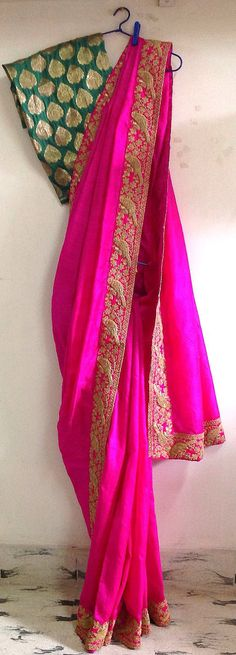 Fuchsia pink semi raw silk saree with cord by GiaExquisiteIndian