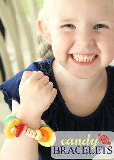 Easy Kids Crafts for the kiddos - make candy jewelry - bracelets, necklaces and more. { lilluna.com }