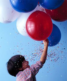 Firework Balloons - Satisfyingly loud and sparkly, these confetti-filled balloons are a fun alternative to fireworks. And unlike the real ones, these can be set off by kids! To make, pull a balloon over a funnel. Pour in confetti until balloon is a quarter full; inflate with a hand pump. Use a sharpened pencil for popping.