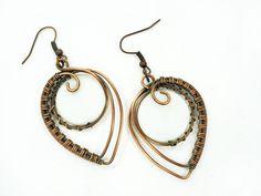 Wire earrings copper wire earrings wrap by MargoHandmadeJewelry