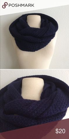 Blue knit infinity scarf Blue knit infinity scarf. 100% acrylic. These are extremely soft and warm!  ⭐️This item is brand new with manufacturers tags or in original packaging. 🚫NO TRADES 💲Price is firm unless bundled 💰Ask about bundle discounts Accessories Scarves & Wraps