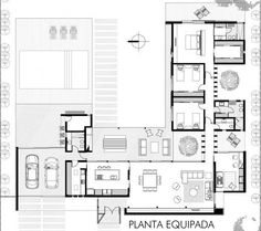 Modern House Plans, Small House Plans, House Floor Plans, Minimalist House Design, Modern House Design, L Shaped House Plans, Stair Plan, Residential Building Design, Residential Architecture