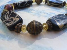 Eartha Glass Crystal and Resin Bracelet in by FizbanFunDesigns, $25.00