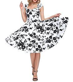 a2fb5c845a4c Hollowed Back Cap Sleeve V-neck Vintage 1950s dresses Bridesmaid Swing  Dress