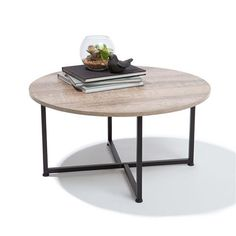 Modern Contemporary Metal Industrial Style Round Wood Coffee Table in Home & Garden, Furniture, Tables Kmart Coffee Table, Round Wooden Coffee Table, Coffee Tables, Industrial House, Industrial Style, Industrial Furniture, My Living Room, Home And Living, Living Spaces