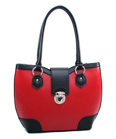 Love this Red & Black Two-Tone Satchel on #zulily! #zulilyfinds