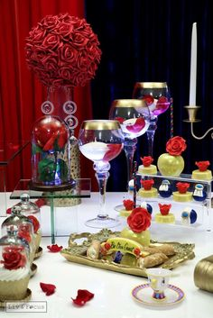Beautiful Beauty and the Beast Quinceañera birthday party! See more party ideas at CatchMyParty.com!