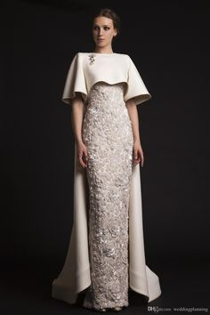 Luxury Krikor Jabotian Long Evening Dresses with Cape Beaded Appliques Elegant Evening Gowns Formal Red Carpet Dresses Evening Wear Cheap