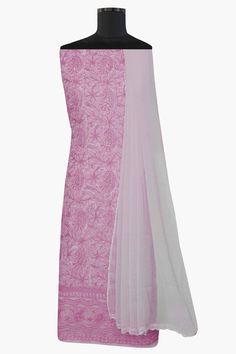 Ada #handembroidered  Pink #cotton  #lucknowi  #chikankari  Unstitched Suit Piece – A557471