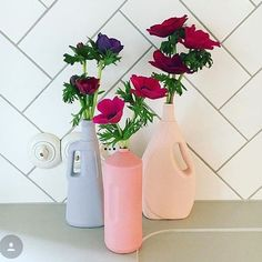 The colorful bottle vase project by Dutch Designer Foekje Fleur, is spreading awareness on the problem of plastic soup. The colored bisque porcelain vases are hand made replicas of plastic trash found all over the world. They can be mixed and matched to look good in both modern and classic decor and are lovely with some dried flowers or just a few fresh flowers from the garden. #homedecor #porcelain #flowervase #decor #design Bottle Vase, Glass Vase, Great Pic, Bunt, Recycling, Color, Kitchen Modern, Counter Top, Alter