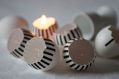 Huevos porta velas decorados con washi tape