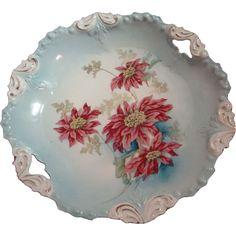 R.S. Prussian Open Handled Cake Plate with Poinsettias