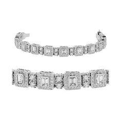 Amazon.com: Diamond Bracelet - Emerald Cut / Round 18k White Gold Diamond Tennis Bracelet: CleverEve: Jewelry