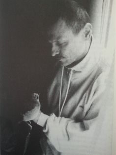 """""""On the set of the film The Mirror, Andrey Tarkovsky included himself in one scene, lying in a hospital bed and holding a tiny bird on his r..."""