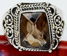$26 Beautiful--SMOKY TOPAZ 925 STERLING SILVER RING