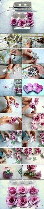 Van eierdozen bloemen maken