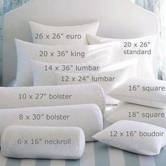 Pillow sizes......just in case you ever wondered....~