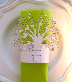Wedding napkin ring heart tree