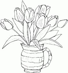 tulips coloring page: inkspired musings: Spring Flowers and more deviled egg recipes