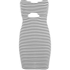 Miss Selfridge Stripe Bandeau Bodycon Dress ($22) ❤ liked on Polyvore