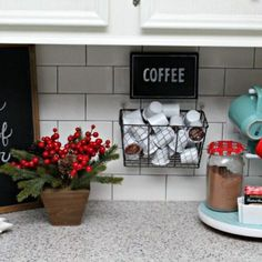 Invite guests to warm up with a cup of cheer by staging a holiday drink station in your kitchen, complete with coffee, tea and hot chocolate. Wine Bottle Vases, Diy Advent Calendar, Earring Trends, Holiday Drinks, Dream Rooms, My Coffee, Hot Chocolate, Planter Pots, Homemade