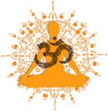 Orange Yoga OM mandala illustration Royalty Free Stock Photography