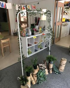 I love this way of bringing plants into the classroom. It is creative and simple. I am not so sure about placement the log on the end looks like a good tripping hazard. Preschool Classroom Layout, Eyfs Classroom, Preschool Rooms, Preschool Centers, Classroom Setting, Classroom Setup, Teaching Kindergarten, Childcare Environments, Childcare Rooms