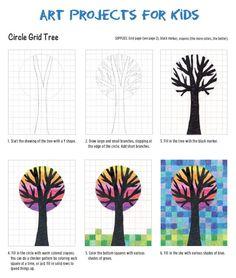 Einfaches Herbst basteln mit Kindern - mit Baum Vorlage. Ihr braucht nur Papier und Bunt- oder Wachsmalstifte.