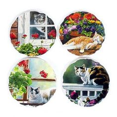 """Cat Tumbled Tile Coasters """"Lazy Days"""" - Set of 4 - Cat Coasters, Stone Coasters, Lazy Days, Beautiful Cats, Cleaning Wipes, Decorative Plates, Glass, Tile, Image"""
