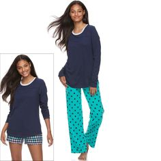 Juniors' SO® Pajamas: Knit Pants, Shorts & Top 3-Piece PJ Set, Teens, Size: S Long, Turquoise/Blue (Turq/Aqua)