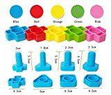 T-Juan MM 40pc Colorful Montessori toys Jumbo Nuts and Bolts Set for Toddlers Preschoolers - Occupational Therapy - Matching Fine Motor Toy