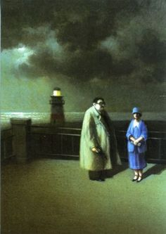 Clouds-Lighthouse-Man-Gun-Woman-Ocean-Detective-Maigret-MICHAEL-SOWA-Postcard