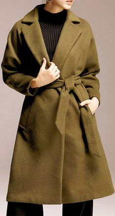 Turndown Collar Wrap Coat