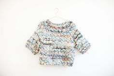 Kingston thick thin merino sweater shown in carnival pastels