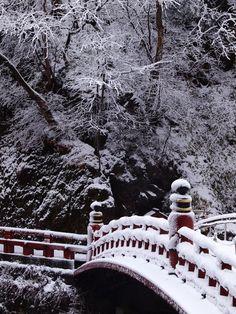 Shinkyo Bridge in snow, Nikko, Japan 神橋 日光