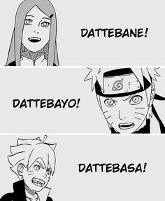 Kushina, Naruto, and Boruto Uzumaki!! Since Kushina is The Red Habanero, Minato is The Yellow Flash, and Naruto is The Orange Hokage, who shall Boruto be?? :3 I love that Kishimato gave each one there own phrase, Naruto's is of course my favorite! DATTEBAYO!!