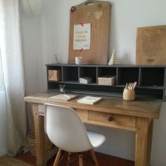 Vintage wooden desk and boards, white Eames chair and dark gray shelving, moody blend of styles Office Decor, Home Office, Office Style, Office Ideas, White Eames Chair, Sweet Home, Space Crafts, Kid Spaces, Bedroom Boys