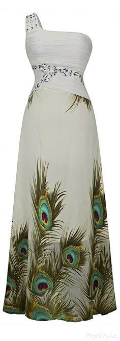 Angel-fashions Beaded Chiffon Peacock Dress
