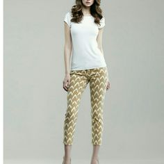 7 ForAll Mankind  Yellow Ikat Skinny Crop 7 For All Mankind  Yellow Printed Ikat Skinny Crop Great Condition! Nothing you can't see on the pictures.  Very comfortable and stylish!   The color is lighter than shown on pictures 3 and 4 7 for all Mankind Pants Skinny