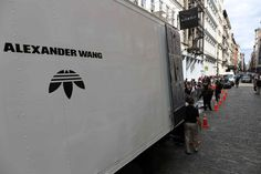 After taking over NYC for New York Fashion Week, the adidas Originals by Alexander Wang pop-up trucks will be heading to London and Tokyo this weekend. Merchandising Displays, New York Street, Alexander Wang, Pop Up, Adidas Originals, Nyc, Pavement, Soho, Footwear