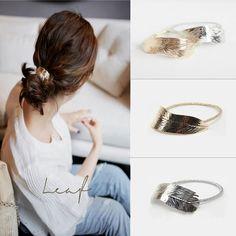 2Pcs Trendy Women Lady Leaf Hair Band Rope Headband Elastic Ponytail Holder #Affiliate