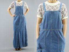 Denim Maxi Jumper Pocket Dress Women's Medium Jean Overall / Apron Dress By Faded Glory 90's Vintage (52.00 USD) by PeopleWear