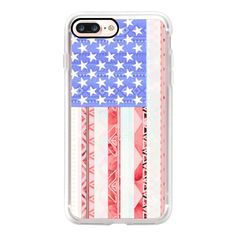 American flag USA Red Blue White Aztec Pattern Ipad Mini - iPhone 7... (770 MXN) ❤ liked on Polyvore featuring accessories, tech accessories, iphone case, slim iphone case, apple iphone case, red iphone case, iphone cases and iphone cover case