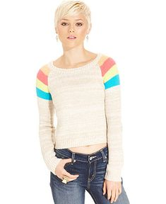 Oh!MG Juniors' Sweater, Long Sleeve Cropped Striped - Juniors Sweaters - Macy's