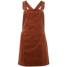 Dorothy Perkins Pecan Dungaree Cord Pinny Dress (£28) ❤ liked on Polyvore featuring dresses, brown, pinafore dress, dorothy perkins, dorothy perkins dress, cotton dresses and brown dress