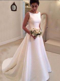 A line Wedding Dresses,Modest Wedding Dress,Satin Wedding Dress,Open Back Wedding Dress - Wishingdress