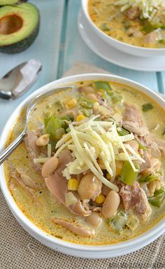 Creamy White Chicken Chili | wholeandheavenlyoven.com Sub evaporated milk for half&half -RR.
