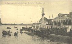 Χανιά, 1 Δεκεμβρίου 1913. Η αποβίβαση του βασιλιά Κωνσταντίνου στο λιμάνι της πόλης στο πλαίσιο της τελετής για την επίσημη ένωση της Κρήτης με την Ελλάδα. Επιστολικό δελτάριο. Εθνικό Ίδρυμα Μελετών και Ερευνών Ελευθέριος Κ. Βενιζέλος