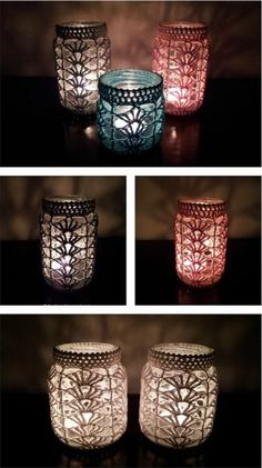 Crochet Pattern Light Mason Jar Cover Free Crochet Pattern - Mason Jar are perfectly versatile decorations. They look even better with crochet cozy, which can be made with Mason Jar Cover Free Crochet Patterns. Diy Tricot Crochet, Crochet Motifs, Crochet Home, Crochet Gifts, Cute Crochet, Crochet Patterns, Crochet Ideas, Beautiful Crochet, Crotchet